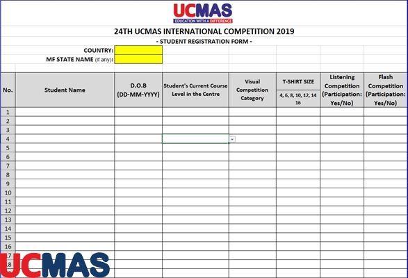 Mẫu đăng ký cho học sinh thi
