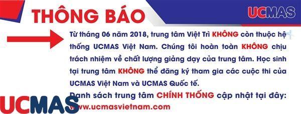 Thông báo rời hệ thống: Trung tâm UCMAS Việt Trì